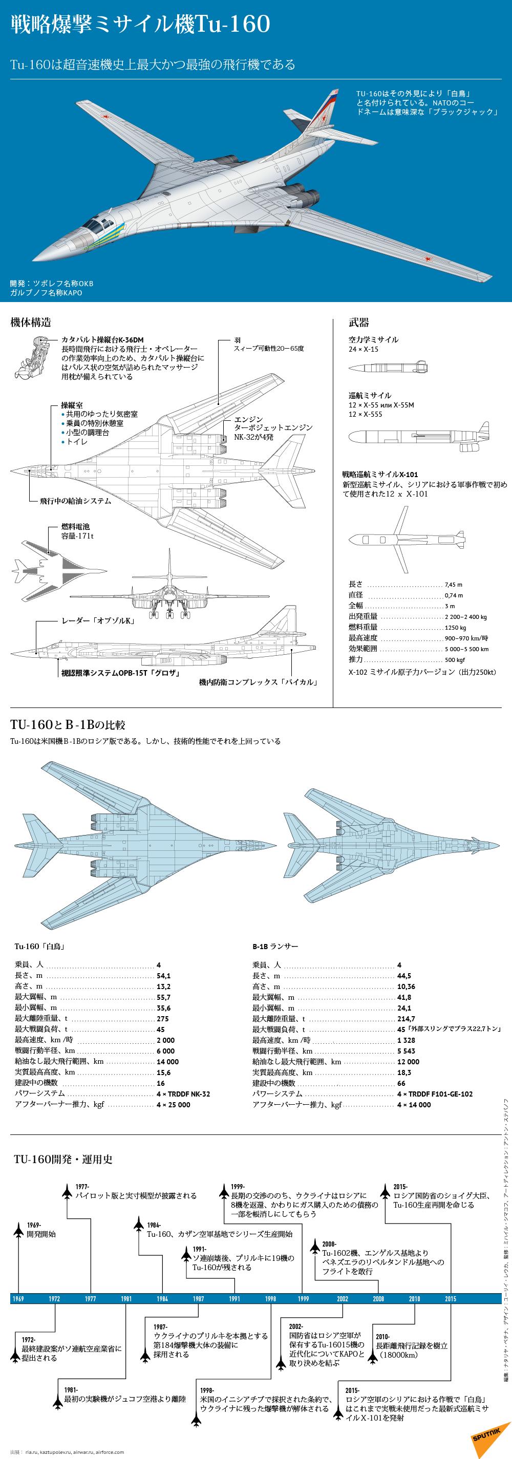戦略爆撃ミサイル機Tu-160 - Sputnik 日本