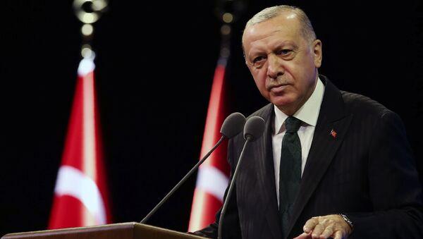 Президент Турции Реджеп Тайип Эрдоган выступает в резиденции президента в Анкаре - Sputnik 日本