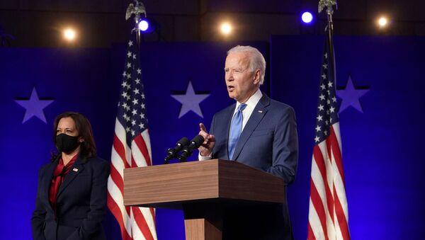 Кандидат в президенты от демократов Джо Байден выступает в Chase Center в Уилмингтоне, штат Делавэр - Sputnik 日本