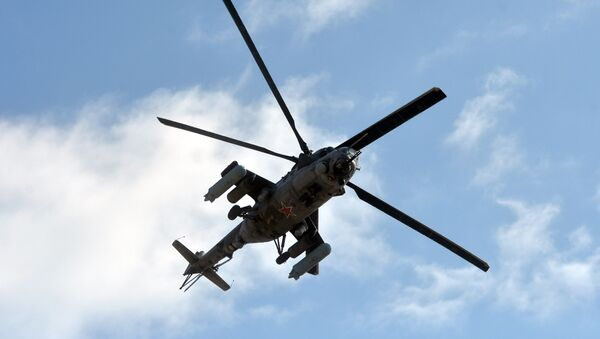 Russian military helicopter Mi-24 (NATO reporting name: Hind) seen during the Kavkaz-2020 war games. - Sputnik 日本