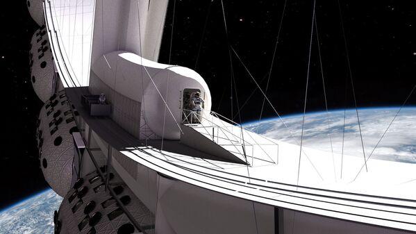 宇宙ホテル「Voyager Station」のエアロックから宇宙へ出る宿泊客 - Sputnik 日本