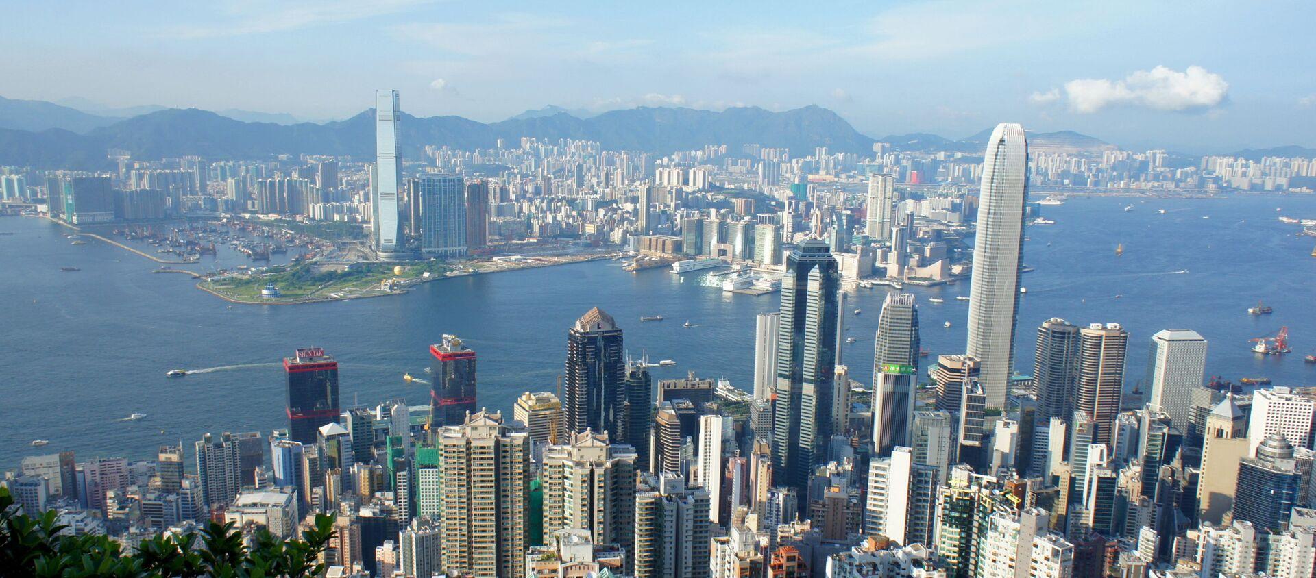 Вид на гавань Виктория с пика Виктория, Гонконг - Sputnik 日本, 1920, 27.07.2021