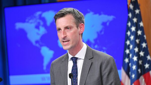 U.S. State Department spokesman Ned Price speaks during the release of the 2020 Country Reports on Human Rights Practices at the State Department in Washington, DC, U.S., March 30, 2021. - Sputnik 日本