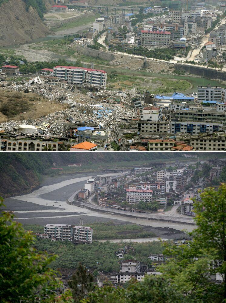 地震の被害に遭った四川省北川県の、当時の様子と2018年の比較画像