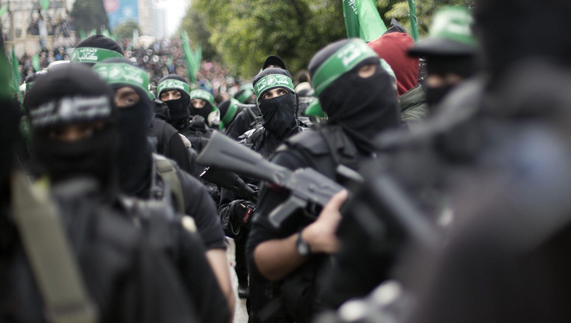 Члены палестинской группировки Хамас на митинге - Sputnik 日本, 1920, 21.05.2021