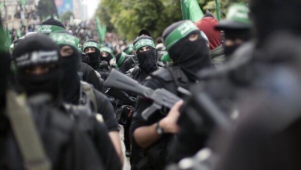 Члены палестинской группировки Хамас на митинге - Sputnik 日本