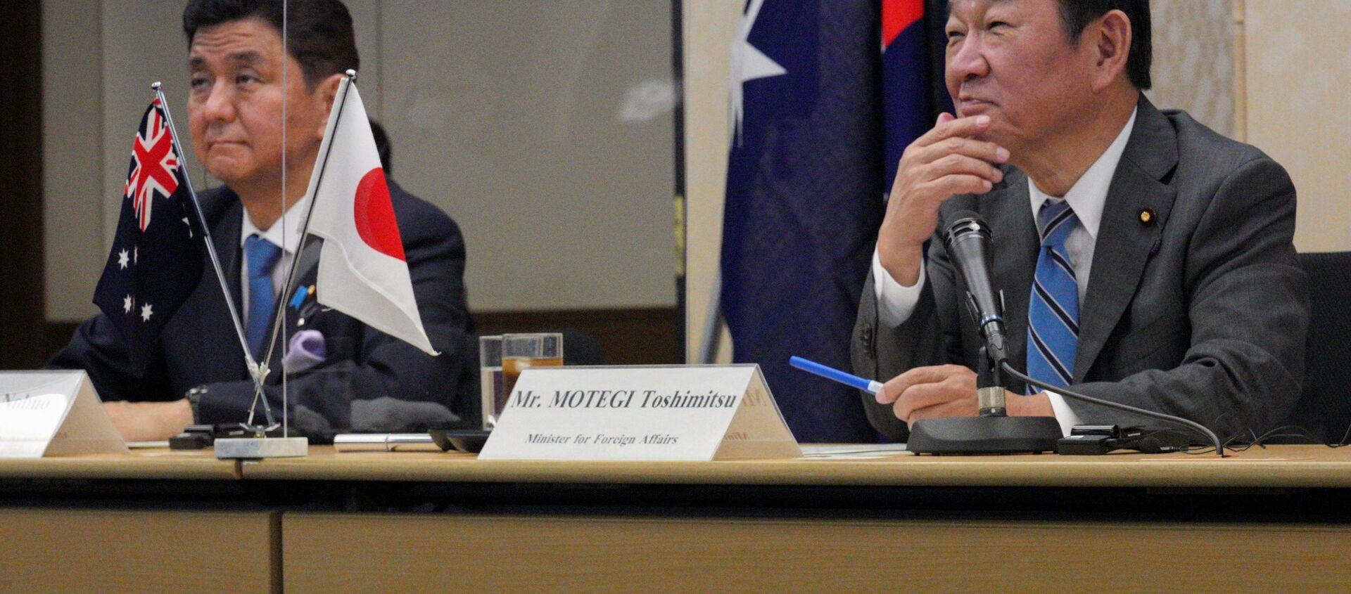 Глава МИД Японии Тосимицу Мотэги и министр обороны Нобуо Киси во время саммита 2 plus 2 с австралийскими коллегами в Токио - Sputnik 日本, 1920, 12.06.2021