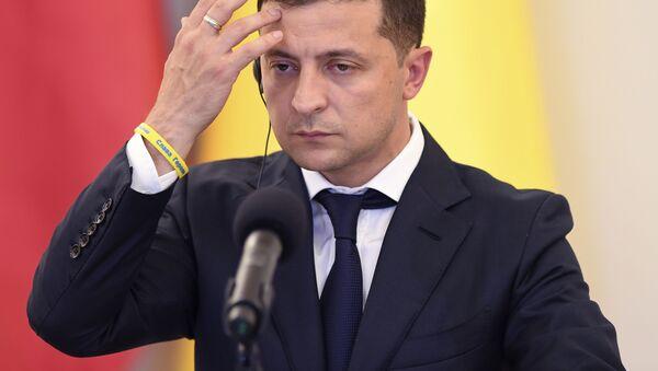 Президент Украины Владимир Зеленский на пресс-конферецнии в Польше  - Sputnik 日本