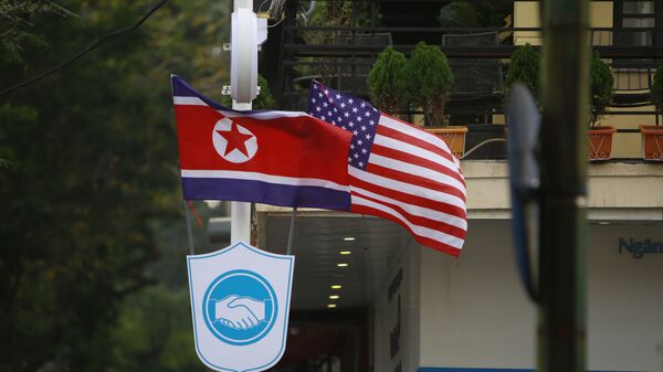 Флаги Северной Кореи и США  - Sputnik 日本