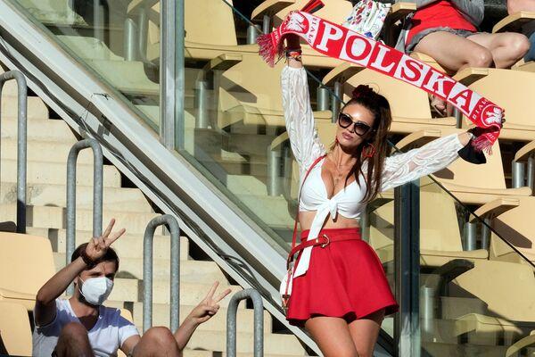 スペイン・セビリアで行われたグループE第2節、スペイン対ポーランド戦の試合で、スカーフを掲げるポーランドのサポーター - Sputnik 日本