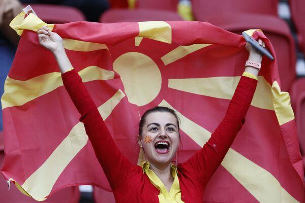オランダ・アムステルダムで行われたグループC第3節、オランダ対北マケドニアの試合を観戦する北マケドニアのサポーター - Sputnik 日本