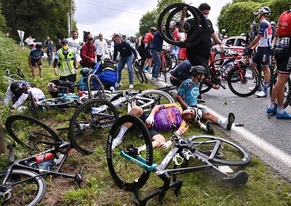 「ツール・ド・フランス」の第1ステージで発生したクラッシュ事故