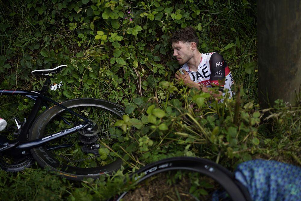 「ツール・ド・フランス」の第1ステージでクラッシュに巻き込まれたスイスのマルク・ヒルシ選手