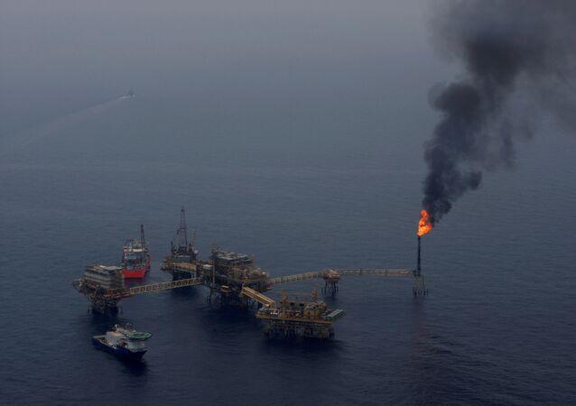 Pemex oil platform  Ku Maloob Zaap in the Bay of Campeche, Mexico, April 19, 2013