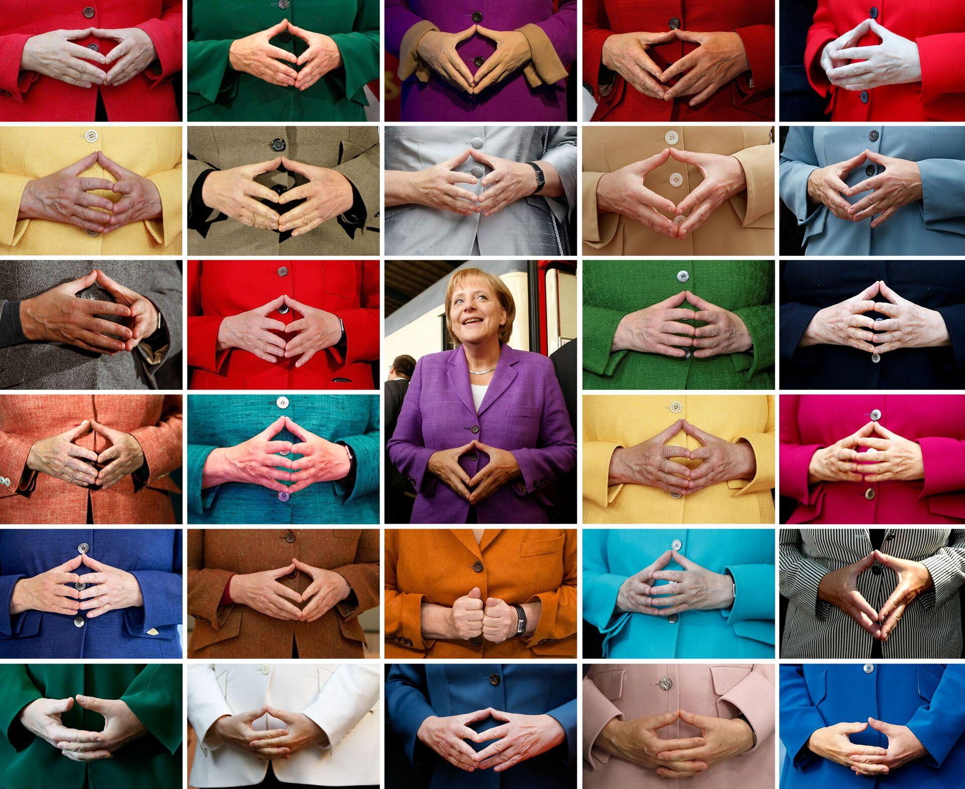 Комбинированный снимок знаменитого жеста рук Ангелы Меркель  - Sputnik 日本, 1920, 19.10.2021