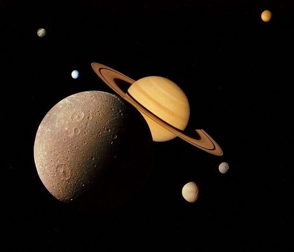 無人宇宙探査機「ボイジャー1号」が撮影した土星とその第4衛星ディオネ(1980年11月) - Sputnik 日本