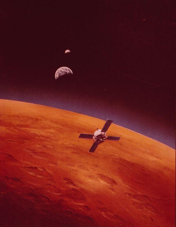 火星探査機「マリナー9号」が火星の軌道に乗る様子(コンセプトアート)(1971年11月13日)。初めて地球以外の惑星軌道に乗った探査機となった - Sputnik 日本
