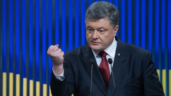 Президент Украины Петр Порошенко во время первой в 2016 году пресс-конференции - Sputnik 日本