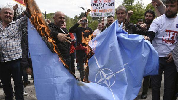 モンテネグロでNATO加盟には対しているデモ、4月28日 - Sputnik 日本