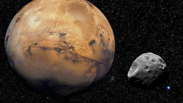 Марс со спутником Фобосом - Sputnik 日本