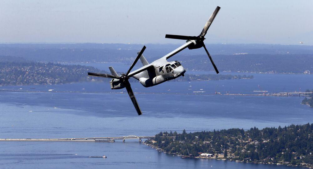 米海兵隊の直離着陸輸送機オスプレイMV-22