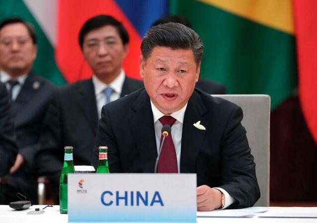 Председатель Китайской Народной Республики Си Цзиньпин на встрече лидеров стран БРИКС в преддверии саммита Группы двадцати G20 в Гамбурге