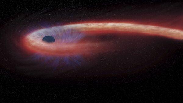 Художественное изображение черной дыры в созвездии Девы, поглощающей рекордные количества материи - Sputnik 日本