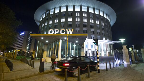 A car arrives at the headquarters of the Organization for the Prohibition of Chemical Weapons, OPCW, in The Hague, Netherlands. - Sputnik 日本