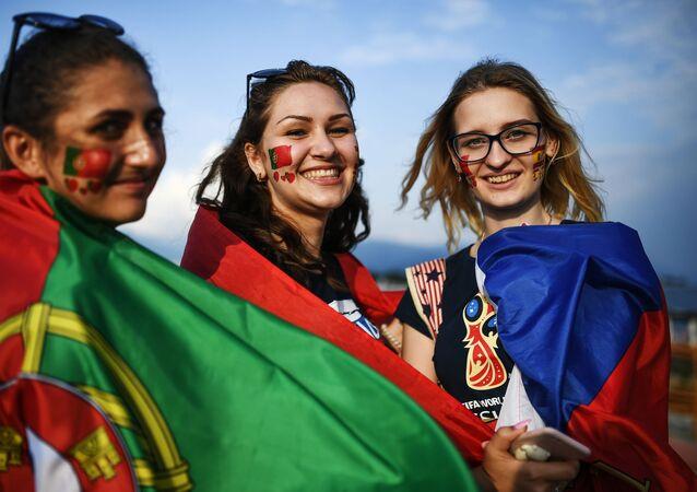 スペインとポルトガルのファン(2018年W杯)