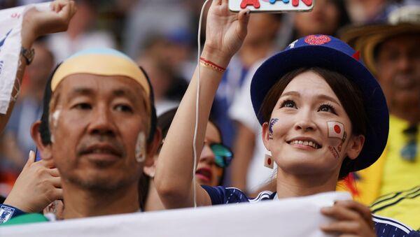 Болельщики сборной Японии перед матчем группового этапа чемпионата мира по футболу между сборными Колумбии и Японии - Sputnik 日本