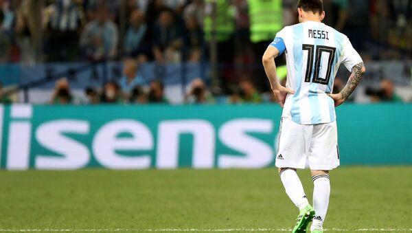 Lionel Messi, delantero argentino, durante el partido entre Argentina y Croacia - Sputnik 日本