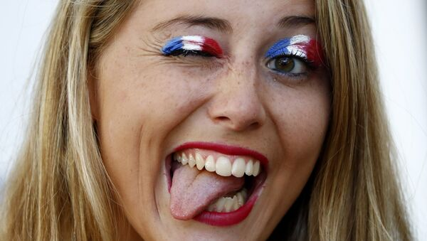 Football Soccer - Germany v France - EURO 2016 - Semi Final - Stade Velodrome, Marseille, France - 7/7/16 France fan inside the stadium before the game - Sputnik 日本
