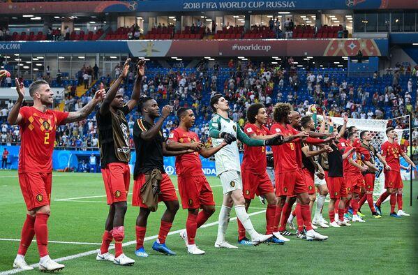 勝利を喜ぶベルギー代表の選手たち - Sputnik 日本