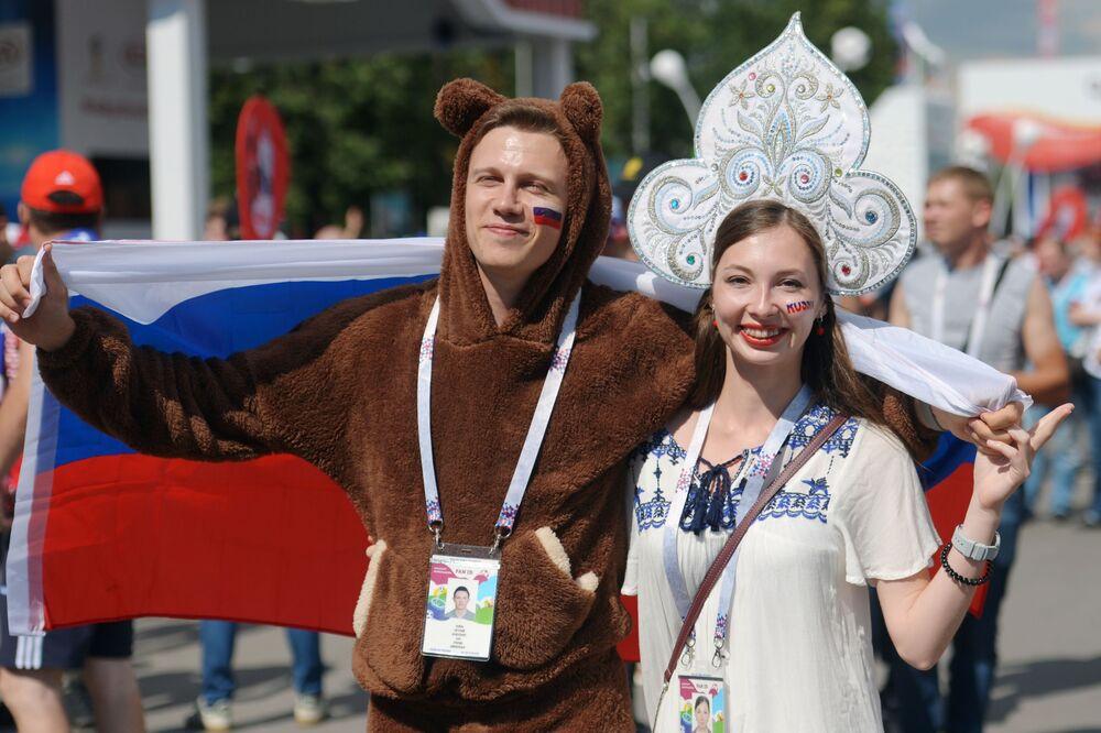 試合前のロシア代表のファンたち