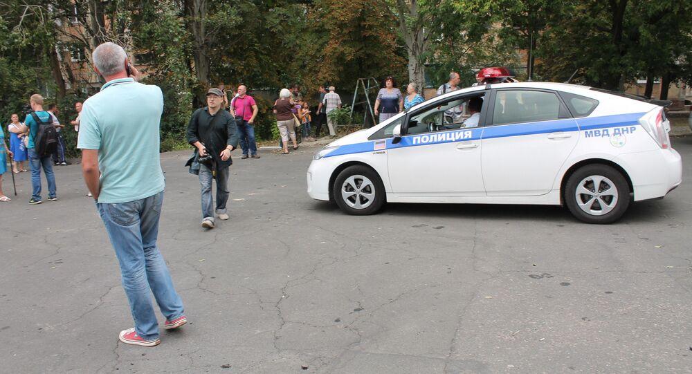 ウクライナ・ドネツク中心部の爆発現場