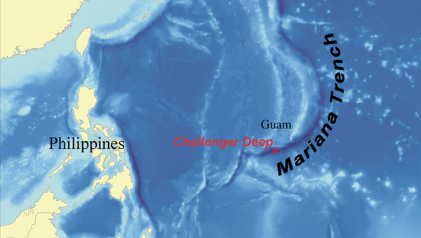 Карта с изображением Марианской впадины - Sputnik 日本