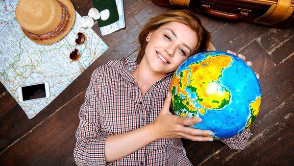 Красивая девушка с глобусом - Sputnik 日本