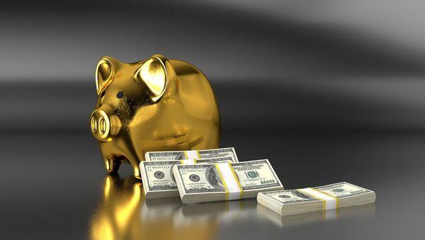 Золотая свинья-копилка рядом с пачками долларовых купюр - Sputnik 日本