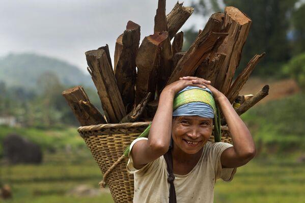 木が入ったかごを頭で支えるカーシ族の女性 - Sputnik 日本