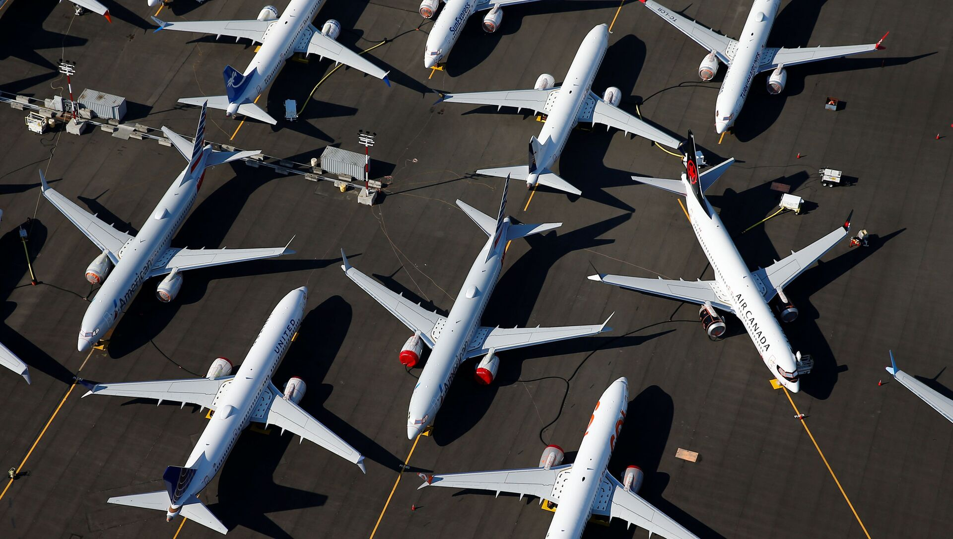 Припаркованные самолеты Boeing 737 MAX в аэропорту Boeing Field в Сиэтле, штат Вашингтон, США - Sputnik 日本, 1920, 19.05.2021