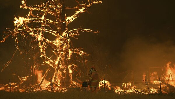 Австралийские пожарные борются с лесными пожарами в районе города Билпин - Sputnik 日本