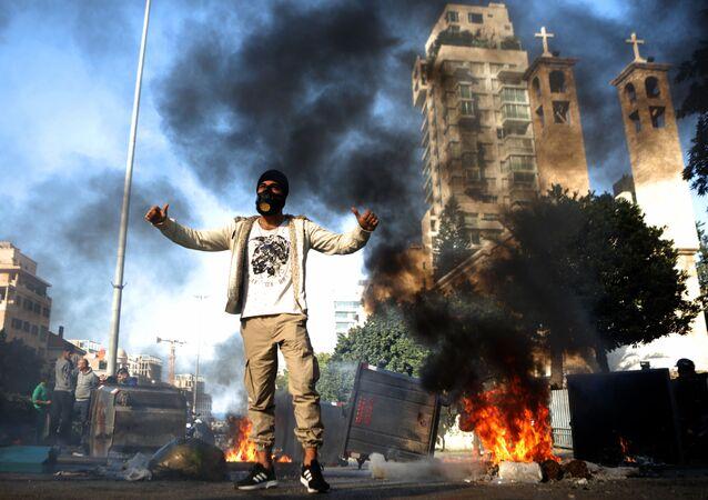 ベイルートのデモ参加者