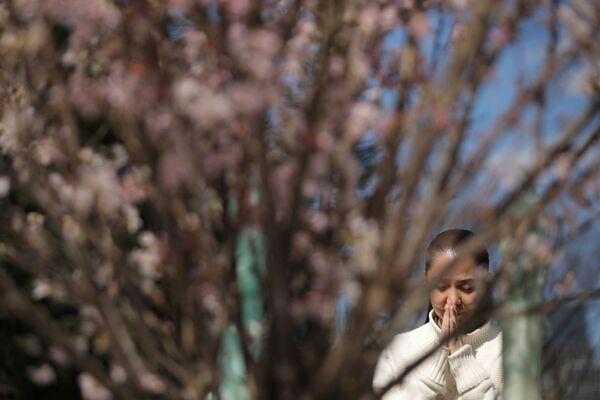黙祷を捧げる女性(東京・日比谷公園) - Sputnik 日本